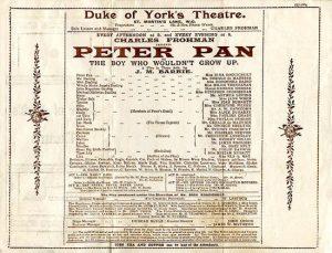 Locandina del primo spettacolo al Duke of York's Theater di Londra, 1904