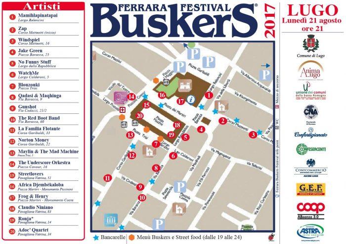 Mappa dei buskers a Lugo (Ferrara Buskers Festival on Tour 2017)