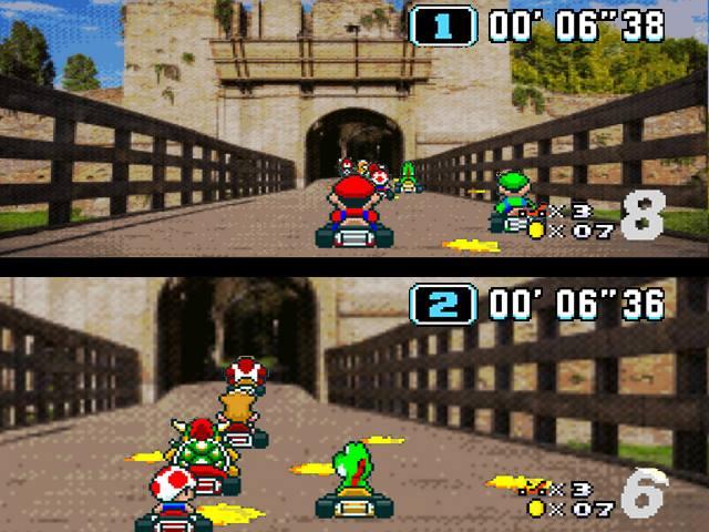 Super Mario Kart (1992), in cui le macchinine sfrecciano verso l'ingresso della Rocca Brancaleone.